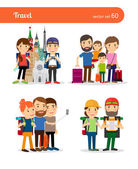 Traveling family and traveling couple vector people