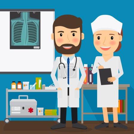 Illustration for Doctor and nurse medical characters. Xray and medical lab. Vector illustration - Royalty Free Image