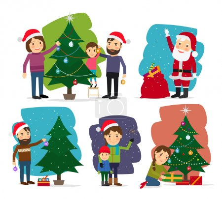 Merry Christmas. Decorating the Christmas tree