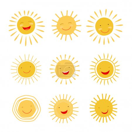 Illustration for Cute hand drawn sun character smiling and shining. Vector  icons collection - Royalty Free Image
