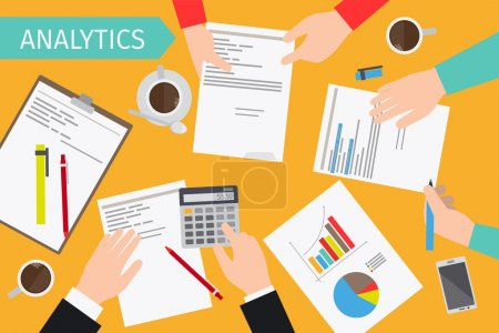 Illustration for Business analytics and financial audit. Brainstorm and calculations. Vector illustration - Royalty Free Image