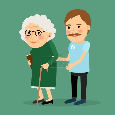 Illustration for Volunteer man caring for elderly woman and helping her to walk with her cane. Vector illustration - Royalty Free Image
