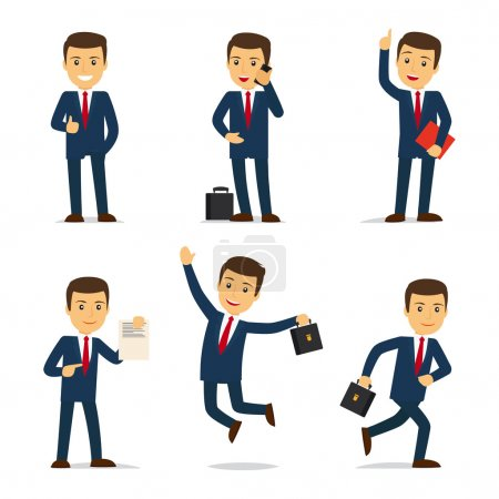 Illustration for Lawyer or attorney cartoon character in different poses with case and document and sellphone. Vector illustration - Royalty Free Image