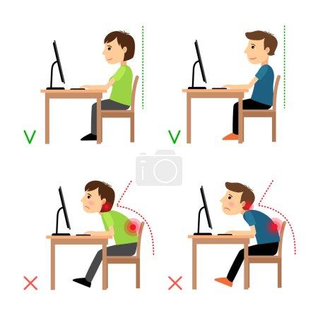 Illustration pour Position assise arrière incorrecte et correcte. Homme et femme assis devant l'exemple du moniteur. Illustration vectorielle - image libre de droit