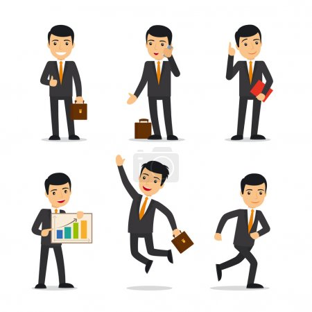 Illustration for Businessman in different poses with case, book, and sellphone. Isolated vector illustration - Royalty Free Image