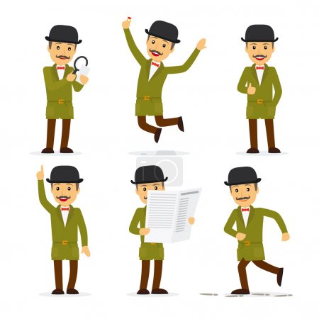 Illustration for Detective character in different poses with newspaper and magnifying glass. Vector illustration - Royalty Free Image
