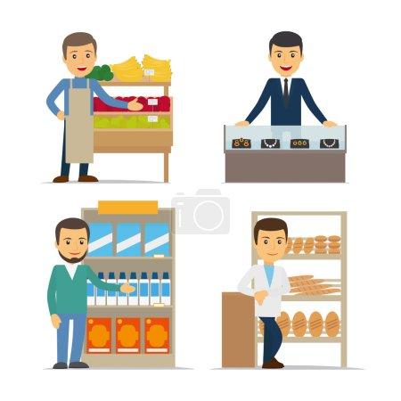 Illustration pour Vendeur à l'illustration vectorielle du comptoir. Bijoux, pain et épicerie - image libre de droit