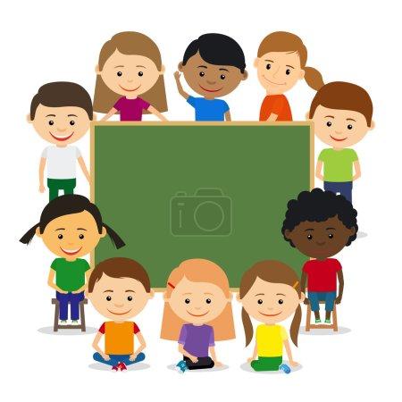 Illustration pour Des gamins autour du tableau. Éducation des enfants et concept de formation des enfants. Illustration vectorielle - image libre de droit