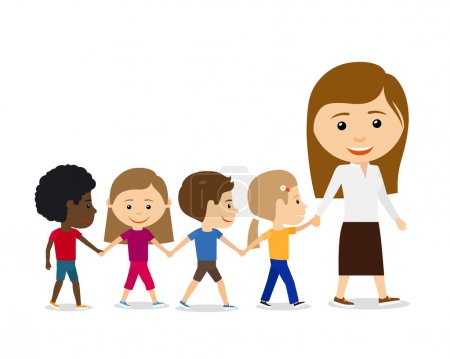Illustration for Teacher with kids on white background, walking and holding hands. Kids education vector illustration - Royalty Free Image