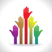 many stand hands colorful human rights concept