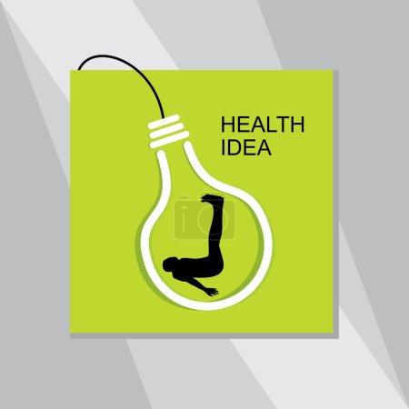 Illustration pour Idée de santé yoga pose à l'intérieur de l'ampoule - image libre de droit