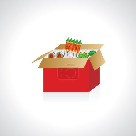 Illustration pour Diwali craquelins dans la boîte illustration vectorielle - image libre de droit