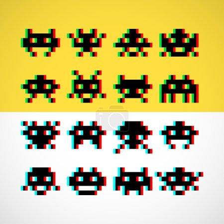 Pixel retro monsters icons