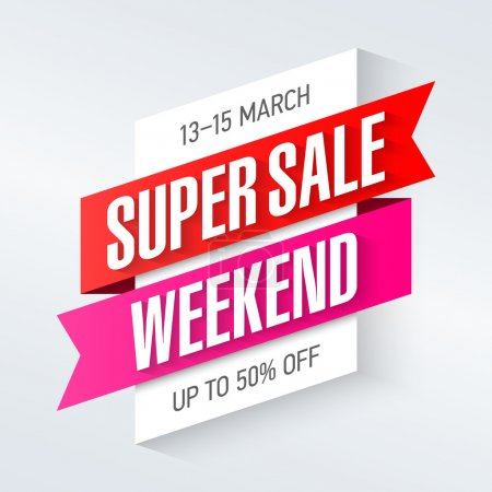 Illustration for Super Sale Weekend special offer poster, banner background, big sale, clearance. Vector illustration. - Royalty Free Image