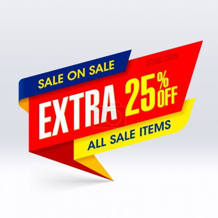 Illustration for Sale On Sale banner, extra 25% off all sale items - Royalty Free Image
