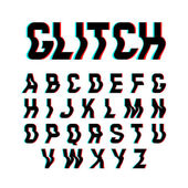 Glitch font with distortion effect