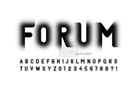 Illustration pour Design de police de style moderne à la mode, lettres alphabétiques et illustrations vectorielles numériques - image libre de droit