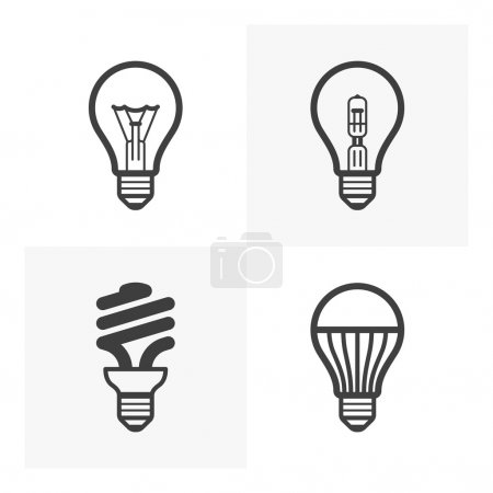 Various light bulb icons