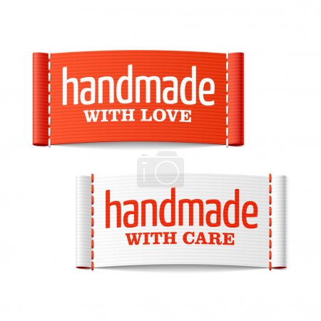 Illustration for Handmade with love and care labels. Vector. - Royalty Free Image