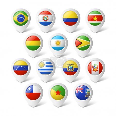 Illustration for Map pointers with flags. South America. - Royalty Free Image