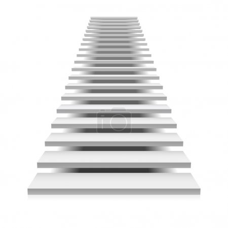 White staircase way up isolated on white backgroun...