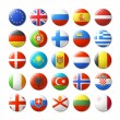 World flags round badges, magnets. Europe. Vector ...