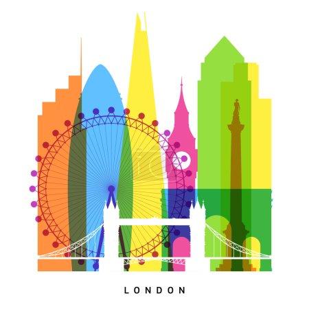 Photo pour Monuments de Londres illustration vectorielle de collage lumineux - image libre de droit