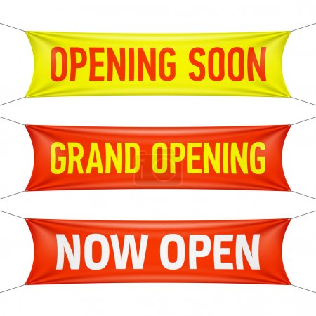 Illustration for Opening Soon, Grand Opening and Now Open banners. Vector. - Royalty Free Image