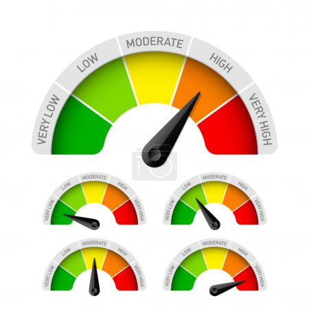Illustration for Low, moderate, high - rating meter. Vector. - Royalty Free Image