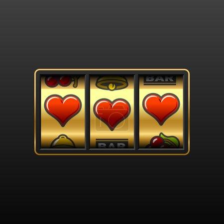 Illustration pour Coeurs sur la machine à sous - image libre de droit