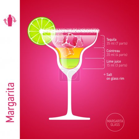 Illustration for Margarita cocktail ingredients. Vector. - Royalty Free Image
