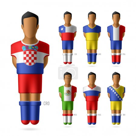 Football players in national flags uniform