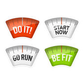 Bathroom scales displaying Do It Start Now Go Run and Be Fit messages