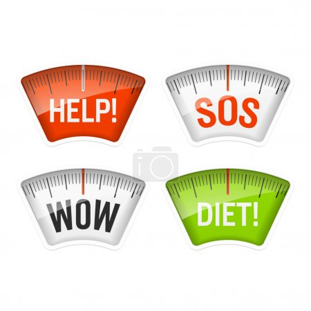Illustration for Bathroom scales displaying Help, SOS, Wow and Diet messages. Vector. - Royalty Free Image