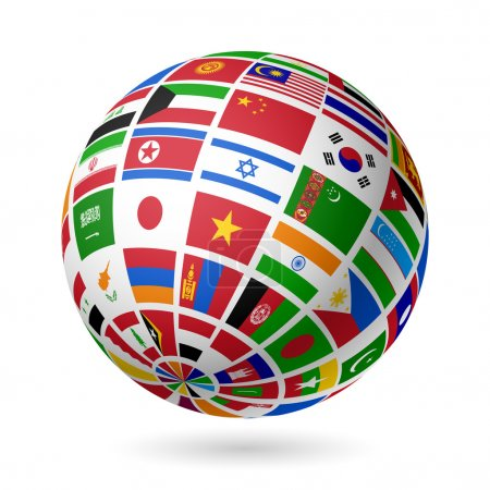 Flags globe of Asia