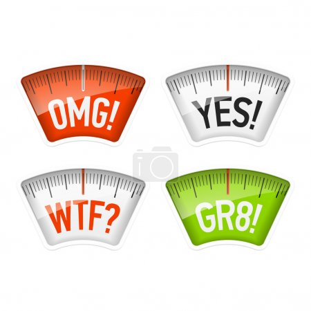 Bathroom scales displaying OMG, YES, WTF and GR8 messages