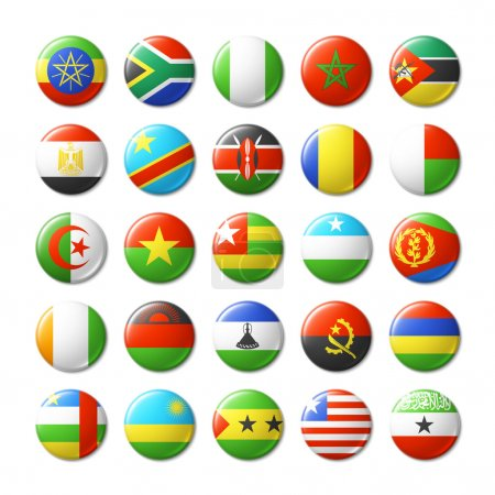 World flags round badges