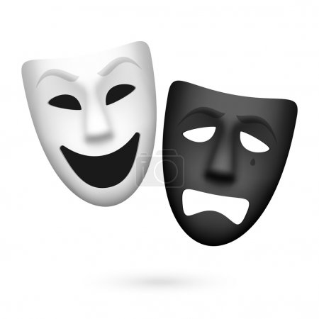 Illustration for Comedy and tragedy theatrical masks. Vector. - Royalty Free Image