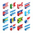 Flags of the World, North America, vector illustra...