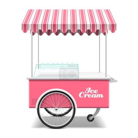 Illustration pour Chariot de crème glacée, shopping, transport alimentaire. illustration vectorielle - image libre de droit
