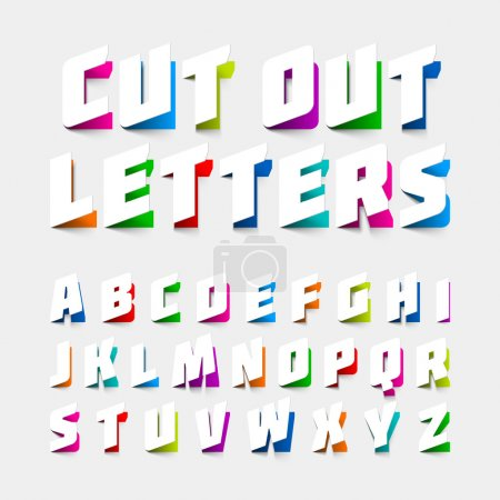 Illustration pour Lettres alphabétiques découpées dans du papier. Illustration vectorielle - image libre de droit