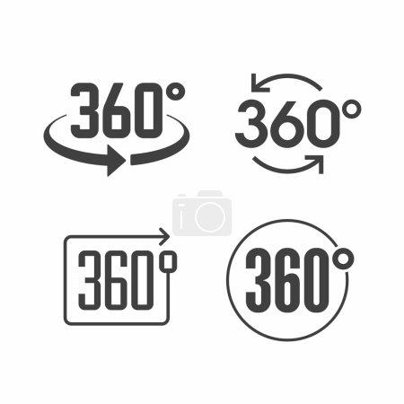 Illustration pour 360 degrés afficher les icônes de signe ensemble. Illustration vectorielle - image libre de droit