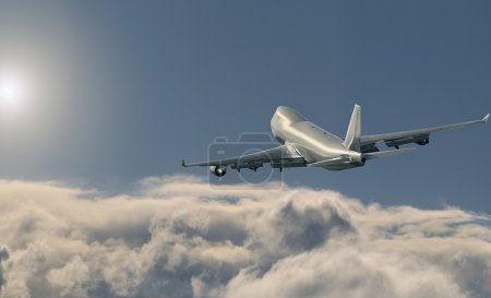 Airplane over the clouds. Boeing 747 CARGO