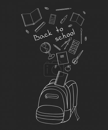 Illustration for Set of school-related items. Sketch-like illustration of a backpack, books, pens and other objects for studies. White outline on a dark background. - Royalty Free Image