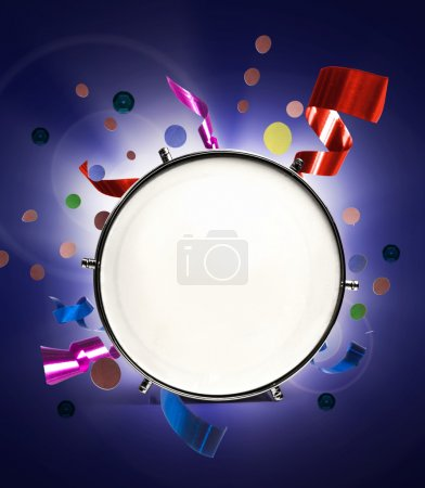 Drum with holiday confetti and ribbons