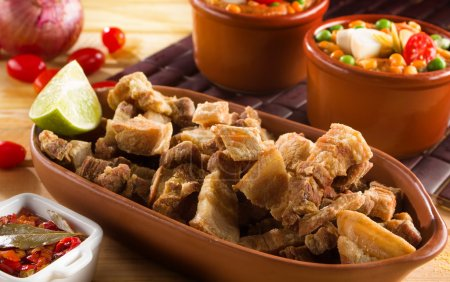 Fried pork rinds, the portion served in restaurant...