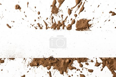 Splash of clay on the white background...