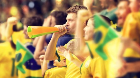 Photo pour Fans de football brésilien - image libre de droit