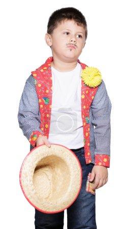 boy  with  straw hat posing