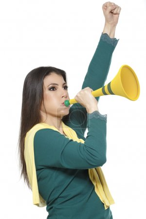 Photo for Female Brazilian  soccer fan - Royalty Free Image